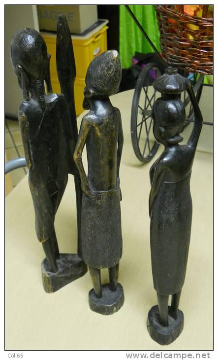 3 Statues Africaines Art Tribal Guerrier Femme Et Sage Hauteur à La Lance 37x7cm Celui-ci Fait 535grammes à Localiser - Art Africain