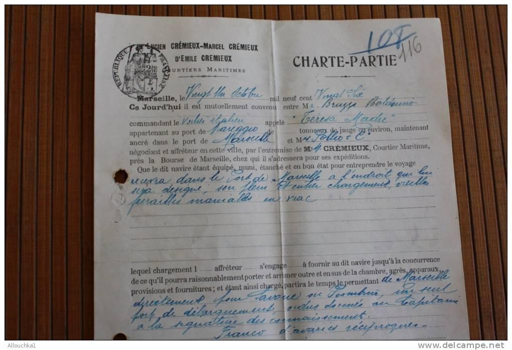 "Ship Bateau Voilier Italien""Teresa Madre"" Marreggio CARICO SPEDIZIONE CONNAISSEMENT MARITIME LADING SHIPPING Oct 1926 - Titres De Transport"