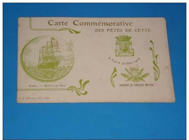CPA 34 SETE CETTE Carte Commemorative Des Fetes Souvenir Du Concours Musical Rare - Sete (Cette)