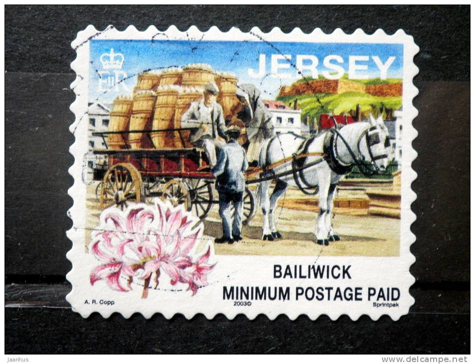 Jersey - 2003 - Mi.nr. 856 V - Used - Traditional Work - Transport In Potato Barrels - Definitives - Self-adhesive - Jersey