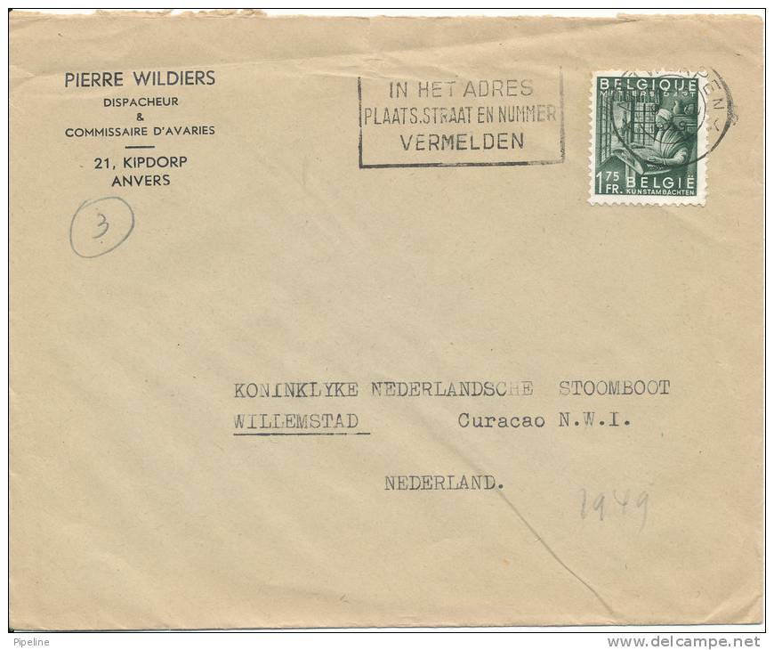 Belgium Cover Sent To Netherlands 1949 - Belgium