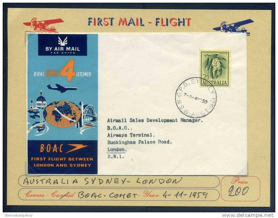 AUSTRALIA - FIRST FLIGHT SYDNEY LONDON - V6193 - First Flight Covers