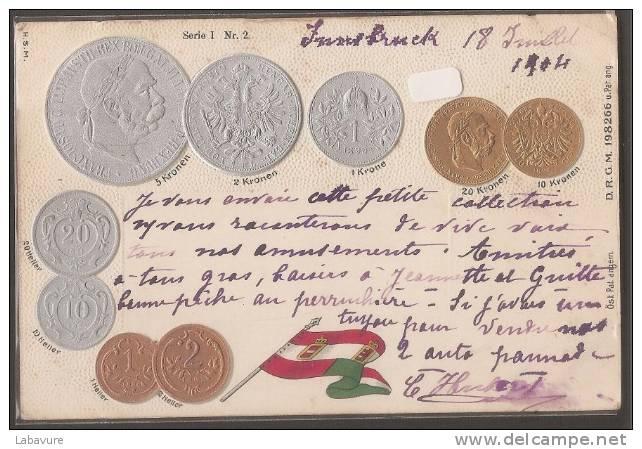 AUTRICHE----Postée D'INNSBRUNCK---pièces De Monaies En Relief - Monnaies (représentations)