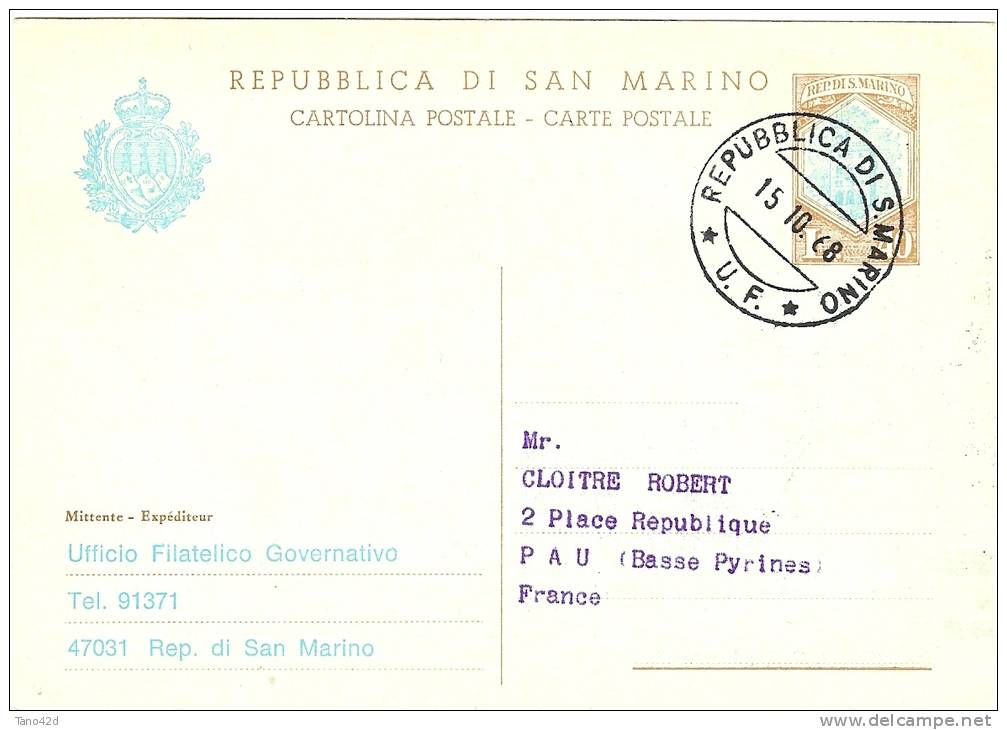 LBL11 - SAN MARINO EP CP REPIQUE UFFICIO FILATELICO VOYAGE 15/10/1968 - Entiers Postaux