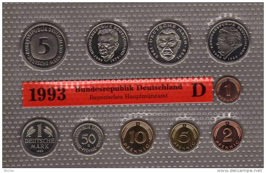 Deutschland 1993 Prägeanstalt D Stg 25€ Stempelglanz Im Kursmünzensatz Der Staatlichen Münze München Set Coin Of Germany - [ 7] 1949-…: BRD