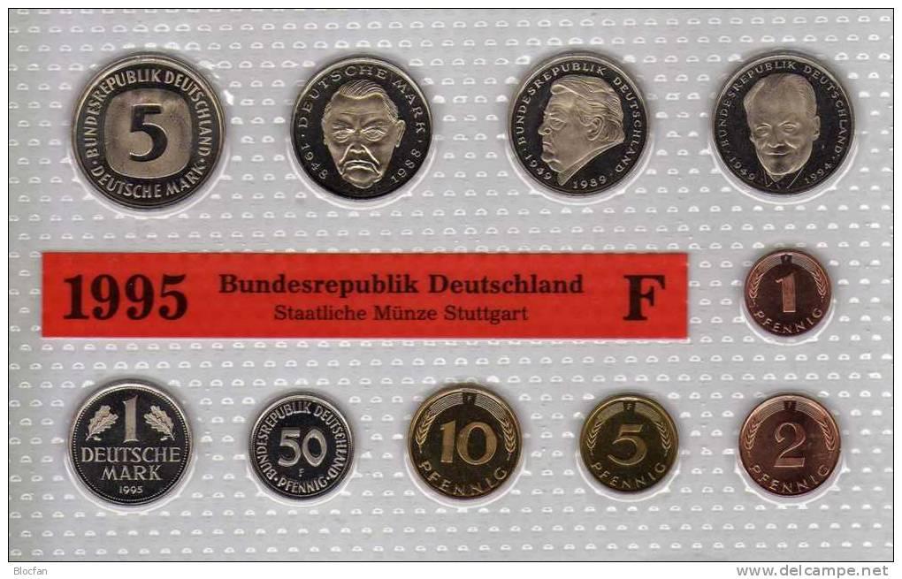 Deutschland 1995 Prägeanstalt F Stg 330€ Stempelglanz Kursmünzensatz Der Staatlichen Münze Stuttgart Set Coin Of Germany - Münz- Und Jahressets