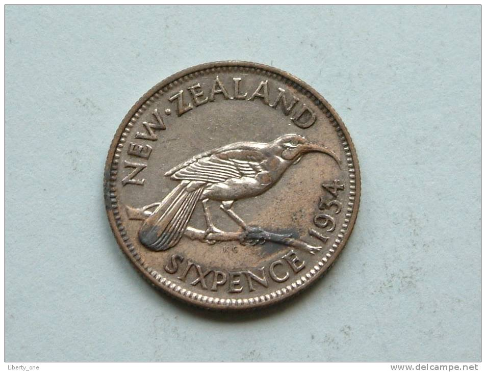 1934 - SIX PENCE / KM 2 ( Uncleaned - For Grade, Please See Photo ) ! - New Zealand