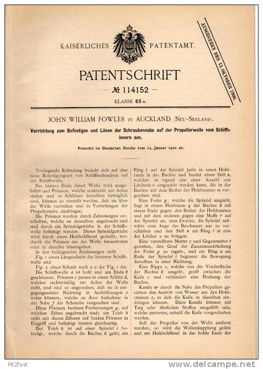 Original Patentschrift - J. Fowler In Auckland , Neuseeland , 1900 , Vorrichtung Für Propellerwellen Von Schiffen !!! - Boats
