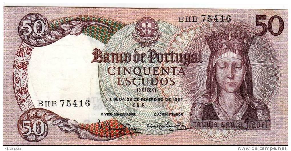 PORTUGAL 50 ESCUDOS P-168 F Vf NOTE Queen Isabella 1964 - Portogallo