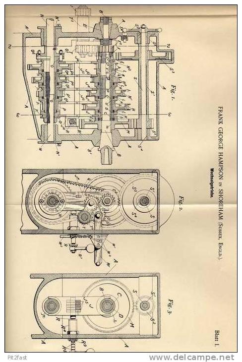 Original Patentschrift - F. Hampson In Shoreham , Sussex , 1898 , Getriebe , Wechselgetriebe Für Automobile !!! - Cars