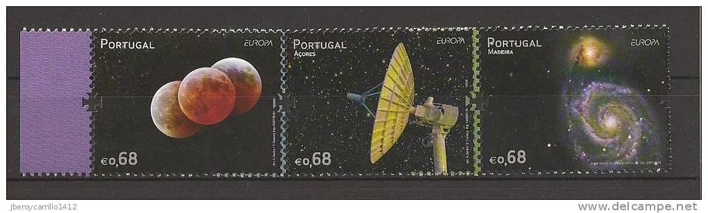 """PORTUGAL - AZORES - MADEIRA  - EUROPA 2009  - TEMA  """"ASTRONOMIA"""" - TRES SERIES De 1 V. C/u.  - DENTADAS  (PERFORATED) - 2009"""