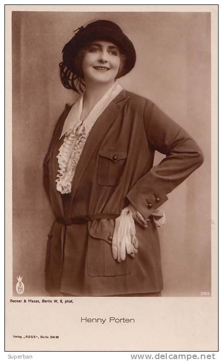 CINÉMA ANCIEN - ACTRICE : HENNY PORTEN - CARTE ´VRAIE PHOTO´ - ANNÉES 1920 - 1930 : ROSS VERLAG (m-286) - Actors