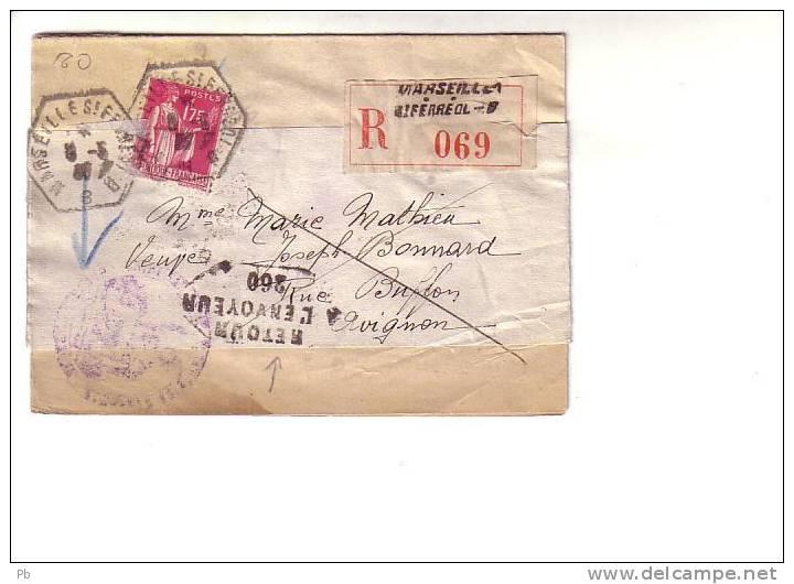Paix Seul Recommandé Recette Auxiliaire Urbaine Marseille B Pour Avignon Vaucluse, Griffe Retour à L´envoyeur 260 - 1921-1960: Période Moderne