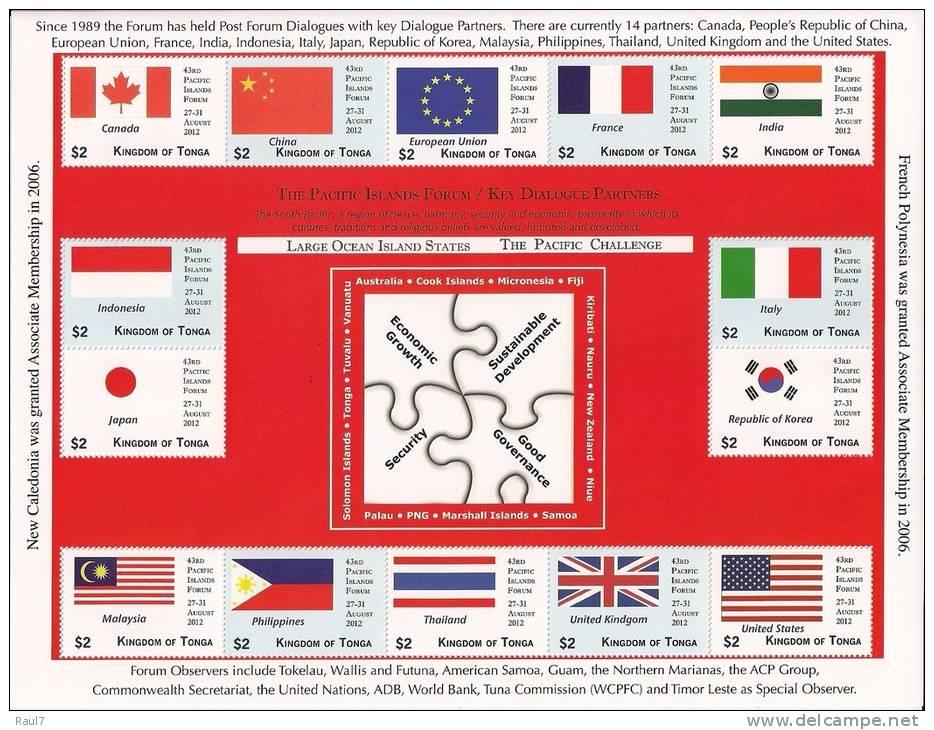 TONGA 2012 - Drapeaux Pays Invités Forum Du Pacifique Sud - Feuillet 14v Neufs // Mnh Sheetlet - Tonga (1970-...)