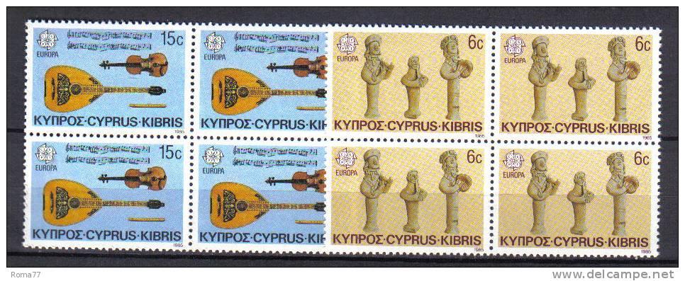 FRZ244 - CIPRO 1985, Serie N. 637/638  ***  Europa Cept In Quartina - Non Classificati