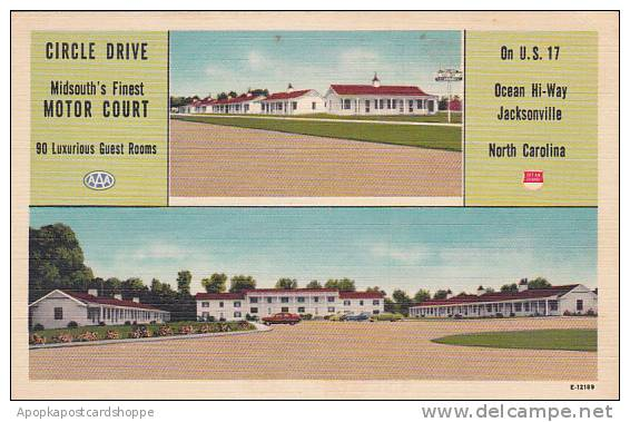 North Carolina Jacksonville Circle Drive Midsouths Finset Motor Court Albertype