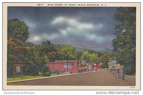 North Carolina Black Mountain Main Street At Night Albertype