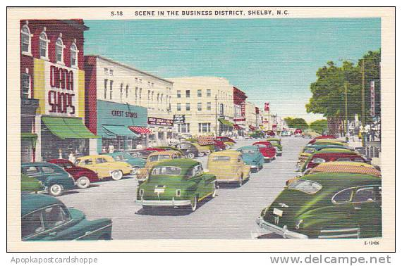 North Carolina BlShelby Scene In the Business District Albertype