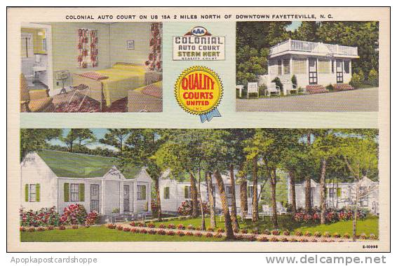 North Carolina Fayetteville Colonial Auto Court On Us 15A 2 Miles North Of Do...