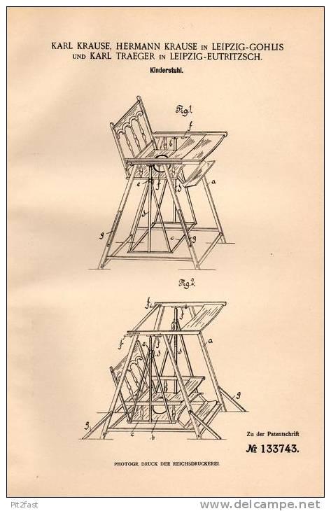 Original Patentschrift - Kinderstuhl , Schaukel , 1901 , K. Krause In Leipzig - Gohlis Und Eutritzsch !!! - Möbel