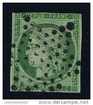 France: Yv/Mi/M Nr 2, 1849, Oblitéré / Cancelled, Etoile, Vert Claire - 1849-1850 Ceres
