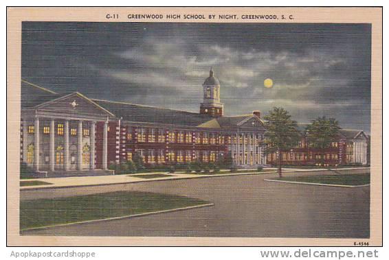 South Carolina Greenwood Greenwood High School By Night - Greenwood