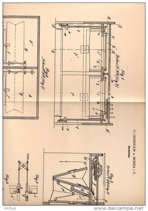 Original Patentschrift - O. Lindholm In Borna I.S., 1900 , Harmonium , Akkordeon , Zieharmonika !!! - Musikinstrumente