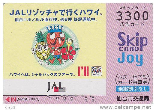 Carte Prépayée Japon - Ananas & Krone / JAL JAPAN AIRLINES Prepaid Card - Airplane Flugzeug Avion Bus Skip Karte - 284 - Avions