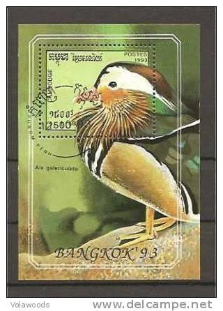 Cambogia - Foglietto Usato: Uccelli - Passeri
