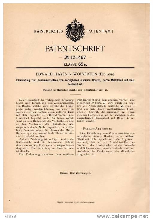 Original Patentschrift - E. Hayes In Wolverton , England , 1901 , Zusammensetzen Von Zerlegbaren Booten !!! - Boats
