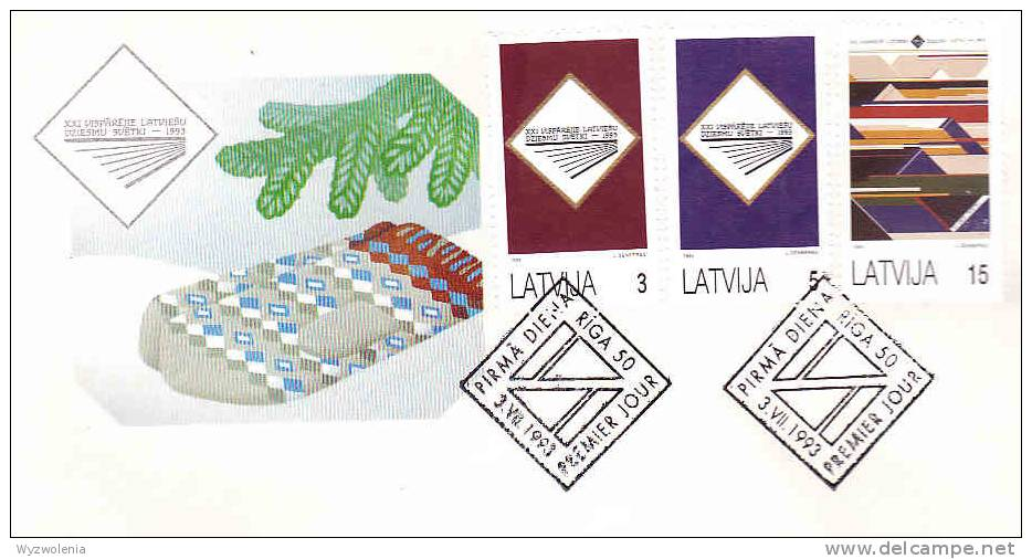 DV 1148) Lettland Latvia MiNr 357-59 FDC: Nationales Sänger- Und Tanz-Fest, Singer, Dance Festival - Christentum