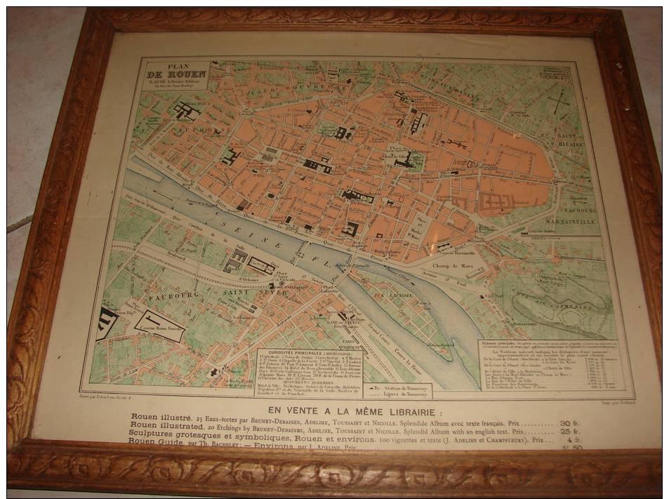 carte plan ville de rouen ancienne sous verre avec cadre d 39 epoque. Black Bedroom Furniture Sets. Home Design Ideas