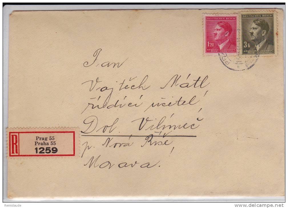 BÖHMEN UND MÄHREN - 1944 - ENVELOPPE RECOMMANDEE De PRAGUE Avec VIGNETTES AU DOS - Bohême & Moravie