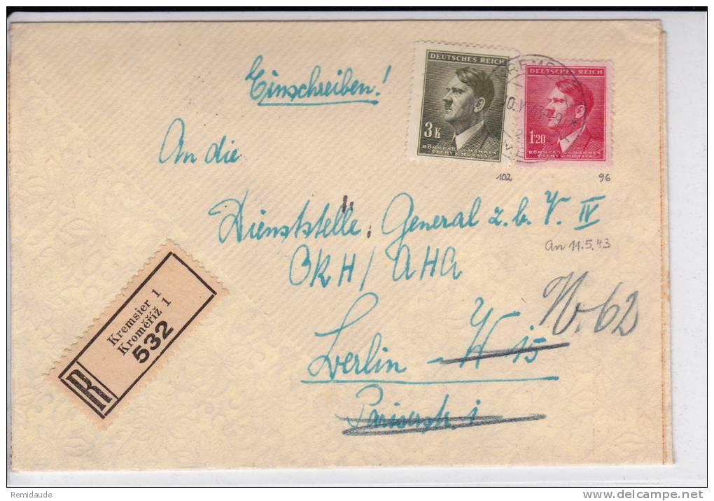BÖHMEN UND MÄHREN - 1943 - ENVELOPPE RECOMMANDEE De KREMSIER - HITLER - - Bohême & Moravie