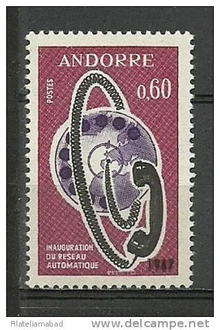 ANDORRA- SELLO CON DOBLE IMPRESION 1967 CON CERTIFICADO DE AUTENTICIDAD. SIN FIJASELLOS ** - Andorra Francesa