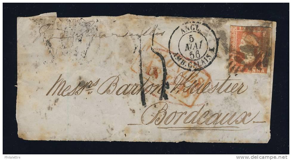 """1856 - """"COLONIES / ART. 18"""" EN ROUGE (ind.19) SUR DEVANT AFFRANCHI 1 A D´INDE ANGLAISE POUR BORDEAUX & TAXE TAMPON 1 - Marcophilie (Lettres)"""