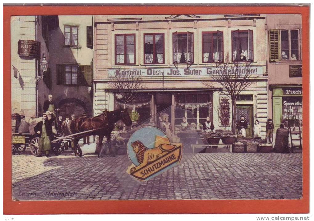 LU     LUZERN . UM 1920. MÜHLEPLATZ.GEMÜSEHANDEL SUTER - LU Lucerne