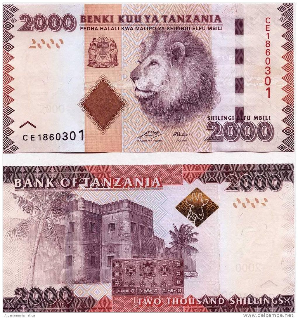 """TANZANIA  2.000  SHILLING  2.010  2010  SC/UNC/PLANCHA    """"LEON""""     DL-9839 - Tanzanie"""