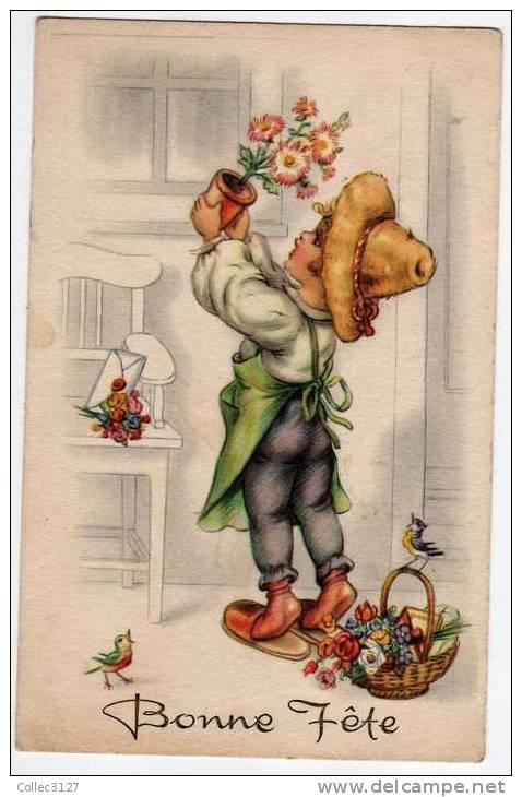 Illustrateur Bonne Fête - Enfant Jardinier - Imprimée En Belgique - Künstlerkarten