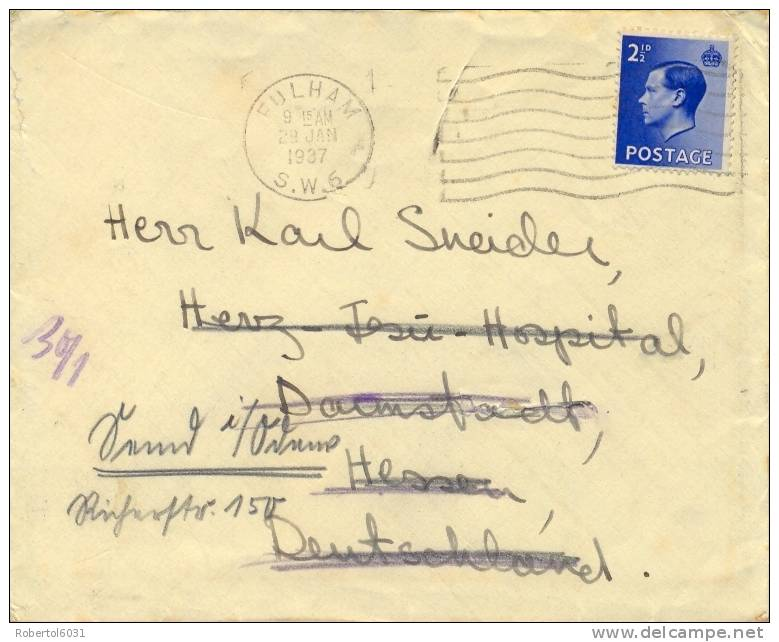 Great Britain 1937 Cover From Fulham To Germany Franked With Stamp 2 1/2 P. Edward VIII - Storia Postale