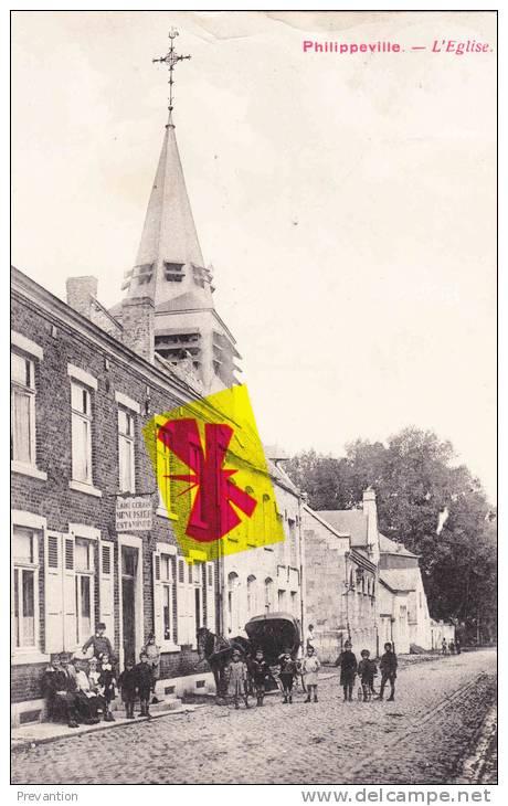 PHILIPPEVILLE - L'Eglise - Superbe Carte Très Animée - Philippeville