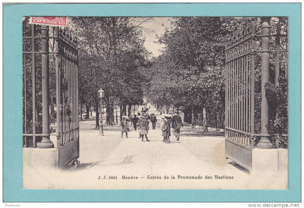 GENEVE  -  Entrée  De  La  Promenade  Des  Bastions  -  1909  -  BELLE CARTE ANIMEE  - - GE Geneva