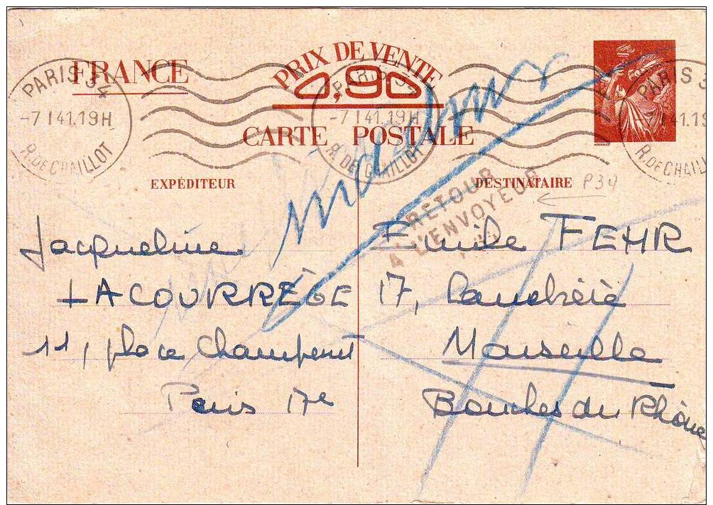 Entier Iris Interzone Mention INADMIS Et Griffe RETOUR A L' ENVOYEUR P34 De Paris .... 7 Janvier 1941 , RARE Et TTB++++ - Marcophilie (Lettres)