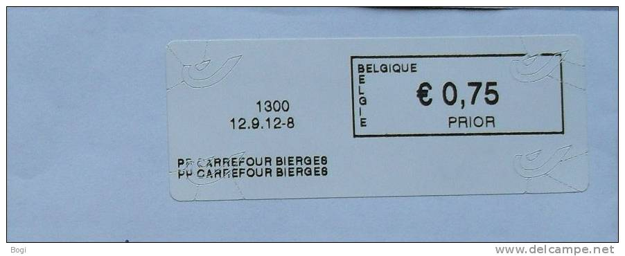 België 2012 PP Carrefour Bierges 1300  - Nieuw Logo Bpost - Frankeervignetten