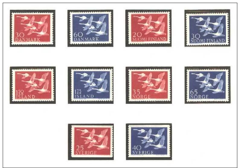 Europa - Mitläufer Norden 5 Kompl. Ausgaben Schwäne Dänemark+Finnland+Island+ Norwegen+Schweden  Postfrisch - Europa-CEPT