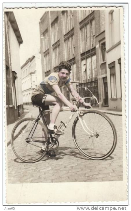 Boy Man On Racing Bicycle Bike, Unknown European Location, C1940s/50s Real Photo Postcard - Cycling