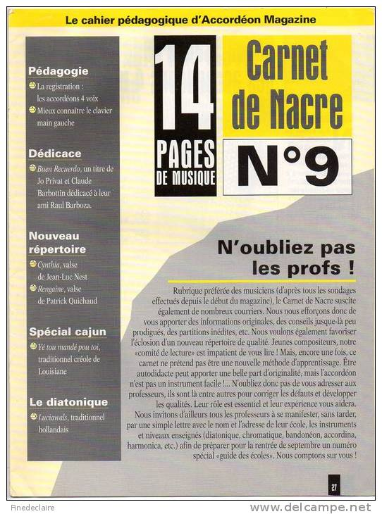 Cahier Pédagogique D´Accordéon Magazine - Carnet De Nacre N°9 - Musique