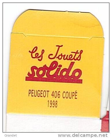 SOLIDO - BOITE VIDE  - PEUGEOT 406 COUPE 1998. - Autres Collections