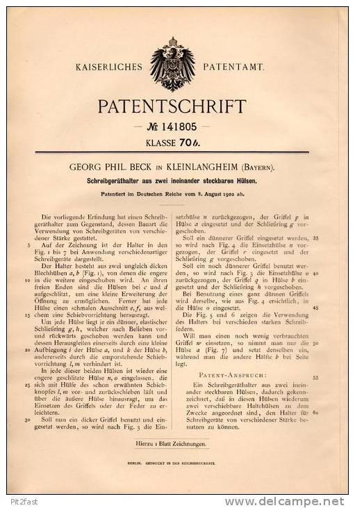 Original Patentschrift - G. Beck In Kleinlangheim B. Kitzingen , 1902 , Schreibgeräthalter , Füllfederhalter , Feder !!! - Schreibgerät