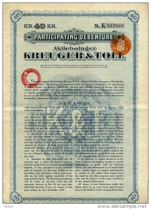 ACTION DE KREUGER & TOLL . 40 KRONOR . SUEDE . - Industrie